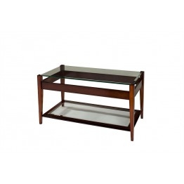 A809 Sheraton Oblong Coffee Table with Raised Glass Top & Glass Shelf