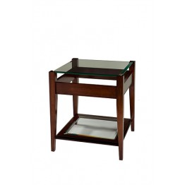 A810 Sheraton Lamp Table with Raised Glass Top & Glass Shelf