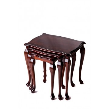 A901 Polished Top Nest of Tables with Queen Anne style legs and inland top