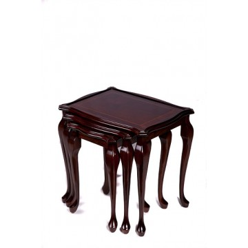 A902 Glass Top Nest of Tables with Queen Anne style legs and inland top