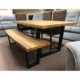 SHOWROOM CLEARANCE ITEM - Corndell Oak Mill Dining Set with Chairs & Bench