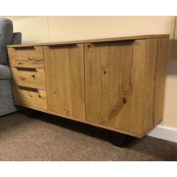 SHOWROOM CLEARANCE ITEM - Corndell Oak Mill Small Sideboard with Metal Legs - Model EW3941