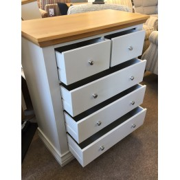 SHOWROOM CLEARANCE ITEM - Corndell Annecy 2 over 3 Bedroom Chest - Oak Top - Model 196