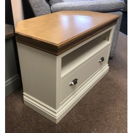 SHOWROOM CLEARANCE ITEM - Devonshire Lundy Corner TV Cabinet - Ivory Shade