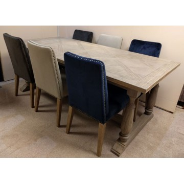 SHOWROOM CLEARANCE ITEM - Frank Hudson Living Mustique Dining Table and 6 Rex Chairs