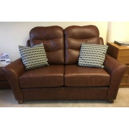 SHOWROOM CLEARANCE ITEM - G Plan Tate 2 Seater Sofa & Wallace Footstool in Leather  - Gallery Collection