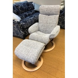 SHOWROOM CLEARANCE ITEM - G Plan Bergen Swivel Recliner & Stool - STandard Size