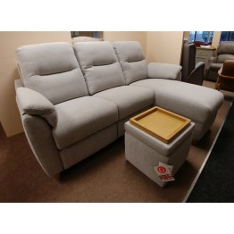 SHOWROOM CLEARANCE ITEM - G Plan Spencer Chaise End Sofa, Power Recliner and Stool