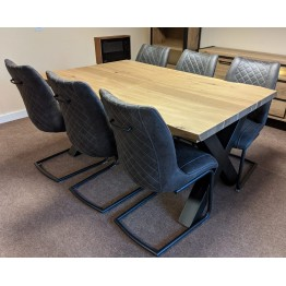 SHOWROOM CLEARANCE ITEM - Habufa Dining Table and 6 Armin Chairs