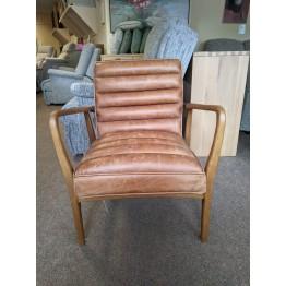 SHOWROOM CLEARANCE ITEM - Frank Hudson Living Datsun Chair in Vintage Brown leather - SLIGHT FRAME DAMAGED
