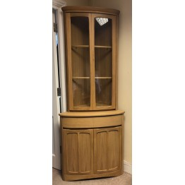 SHOWROOM CLEARANCE ITEM - Nathan Furniture Shades Oak Corner Cabinet - 1915 base with 4905 display top - ONLY ONE LEFT