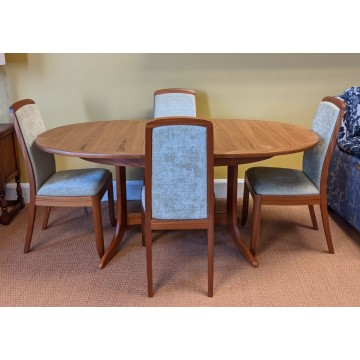 SHOWROOM CLEARANCE ITEM - Nathan Classic Teak Dining Table and 4 Upholstered Dining Chairs