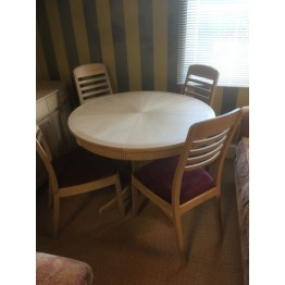 SHOWROOM CLEARANCE ITEM - Nathan Furniture Shades Oak Dining Table and 4 Chairs - Sunburst Top