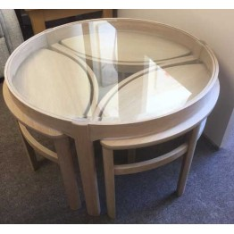 SHOWROOM CLEARANCE ITEM - Nathan Furniture Oak Glass Top Trinity Coffee Table Nest