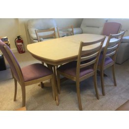 SHOWROOM CLEARANCE ITEM - Sutcliffe Campaign Table and 6 Chairs - 9035 - 9445 - 9015