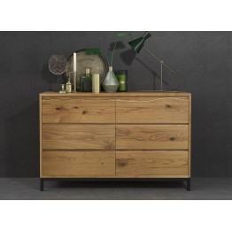 Corndell Oak Mill Bedroom Six Drawer Wide Chest