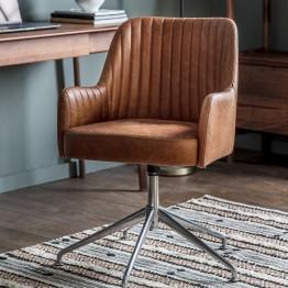 Currie Swivel Chair - Vintage Brown