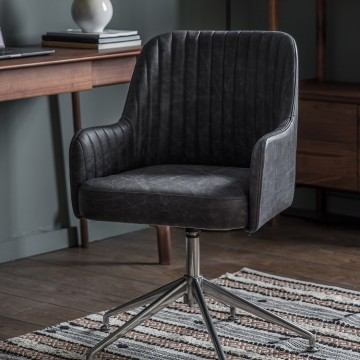 Currie Swivel Chair - Antique Ebony