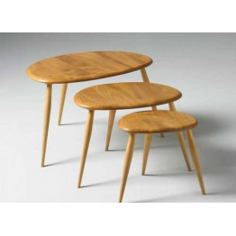 Ercol Furniture 7354 Originals nest of tables - Ercol pebble nest