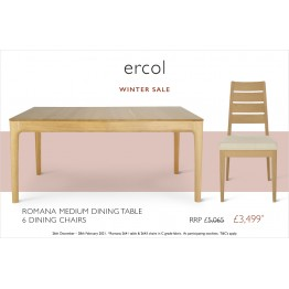 Ercol Romana Dining Set Promotion 2641 Table & 6 Chairs - Ends 1st March 2021!!