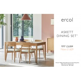 Ercol 4221/4223 Askett Dining Suite - Medium Extending Dining Table & 4 Low Back Dining Chairs - Special Set Price