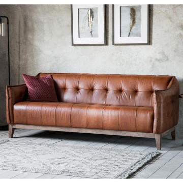 Frank Hudson Ecclestone Sofa in Mellow Brown Vintage Leather
