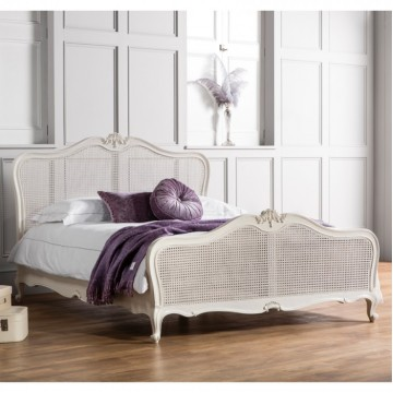 Frank Hudson Chic 5' Cane Bed - Silver, Weathered or Vanilla White
