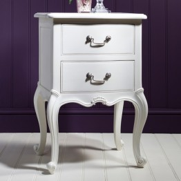 Frank Hudson Chic Bedside Table - Silver, Weathered or Vanilla White