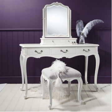 Frank Hudson Chic Dressing Table - Silver, Weathered or Vanilla White