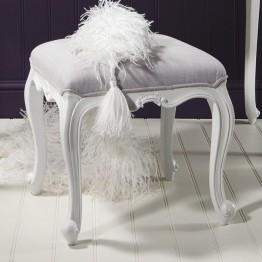Frank Hudson Chic Dressing Stool - Silver, Weathered or Chalk