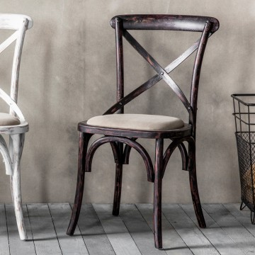 Hudson Living Café Dining Chair - PRICE FOR A BOX OF 2  - Black frame with neutral seat.