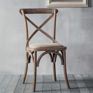 Hudson Living Café Dining Chair - PRICE FOR A BOX OF 2  - Natural frame with neutral seat.