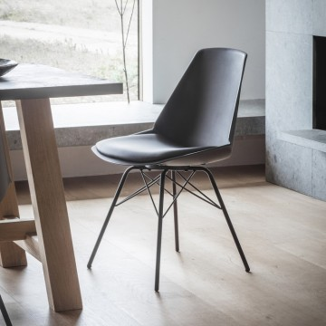 Hudson Living Finchley Dining Chairs - Only available as a pack of 4 - BLACK COLOUR