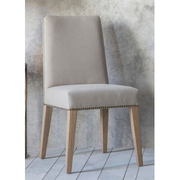 Pair of Frank Hudson Rex Dining Chairs - Cement Linen Fabric