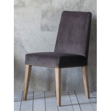 Pair of Frank Hudson Rex Dining Chairs - Mouse Velvet Fabric