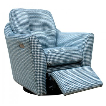 G Plan Flint Swivel Chair with Powered Footrest in Fabric