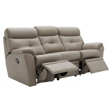 G Plan Newton Leather Power Reclining 3 Seater Sofa - Double side reclining