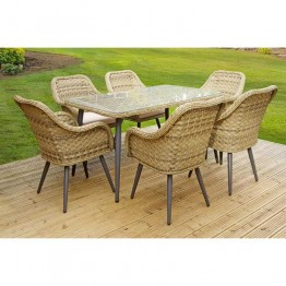 Contemporary 6 Seat Rattan Dining Set with Rectangular Table