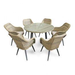 Contemporary 6 Seat Round Dining Set