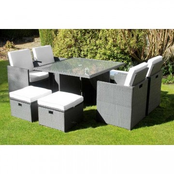 Deluxe Rattan Cube Dining Set - 8 Seat
