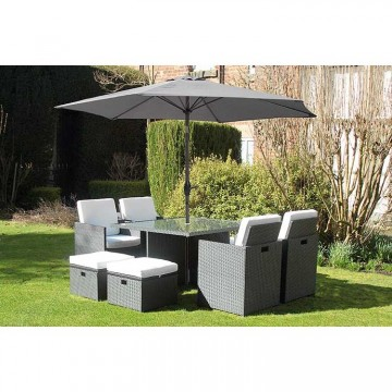 Deluxe Rattan Cube Dining Set With Parasol