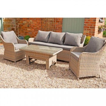 Heritage 3 Seater Sofa & 2 Armchairs With Rising Table