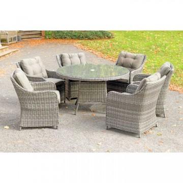 Heritage Rod Weave 6 Seat Round Dining Set - HP355