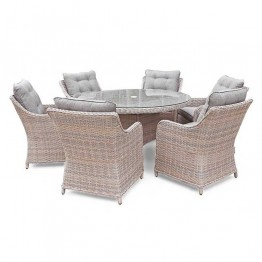 Heritage Rod Weave 6 Seat Round Dining Set with Parasol