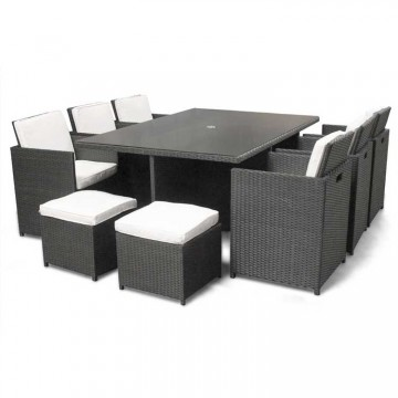 Premium 10 Seat Rattan Cube Dining Set With Parasol