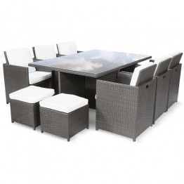 Premium 10 Seat Rattan Cube Dining Set With Parasol