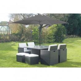 Premium 8 Seat Cube Rattan Dining Set With Parasol