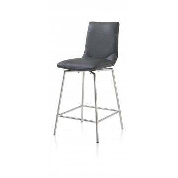 Habufa 22288 Davy Bar Stool - Anthracite and Silver Metal