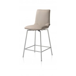 Habufa 22288 Davy Bar Stool - Taupe and Silver Metal