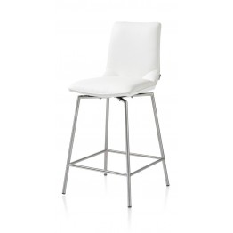 Habufa 22288 Davy Bar Stool - White and Silver Metal